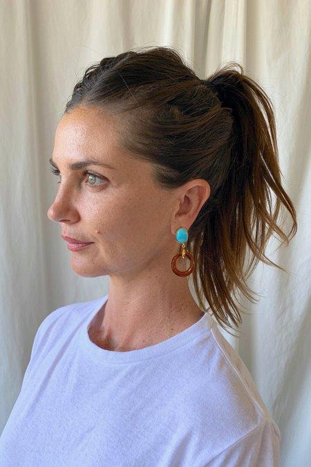 Lizzie Fortunato Bilbao Earrings - Ambar/Turquoise/Gold