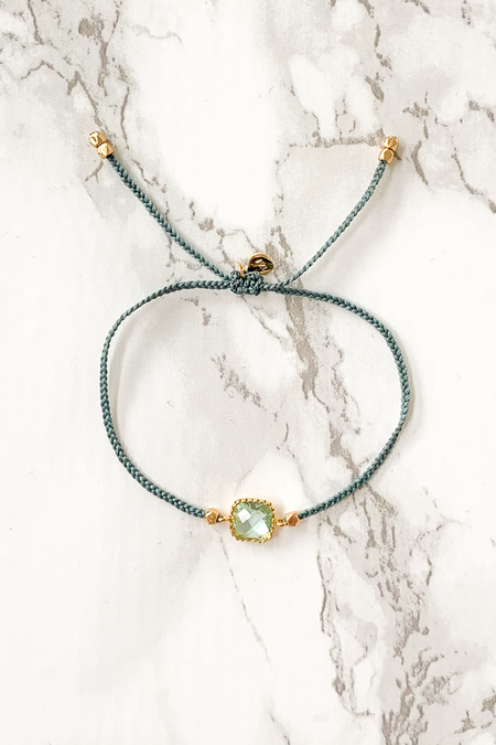 tai Glass Square Charm Bracelet