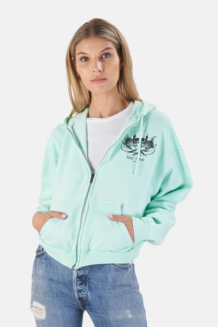Blue&Cream Skull Crop Hoodie Sweater - Mint/Black Skill