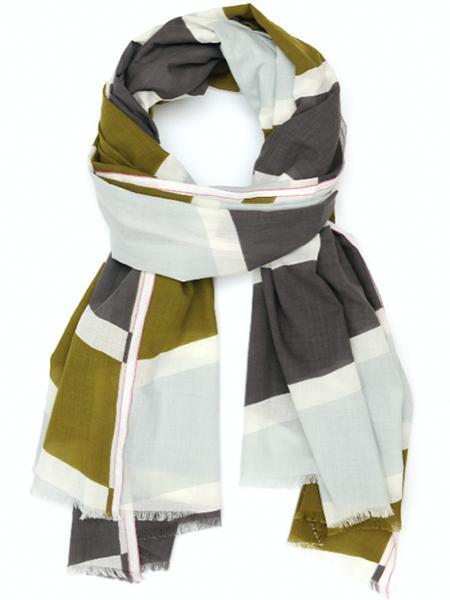 Moismont Diagonal Stripes Cotton Scarf - khaki/gray/green