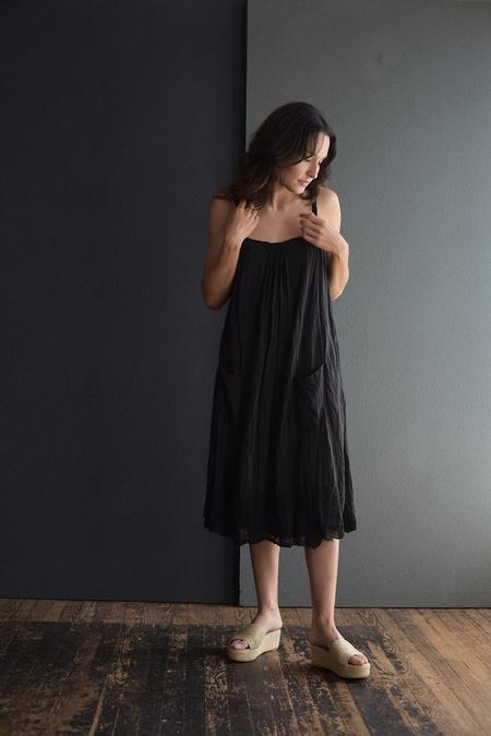 Hazel Brown Gauze Double Dress - Black