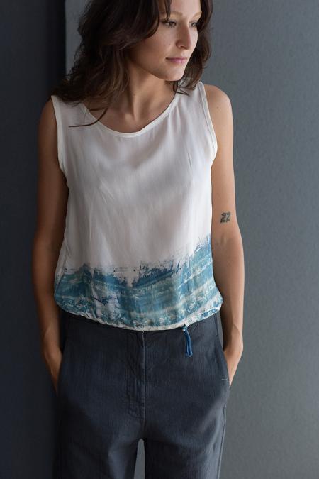 Hazel Brown Cyano Type Print Blouse