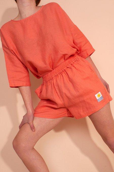 L.F.Markey Basic Linen Shorts - Coral