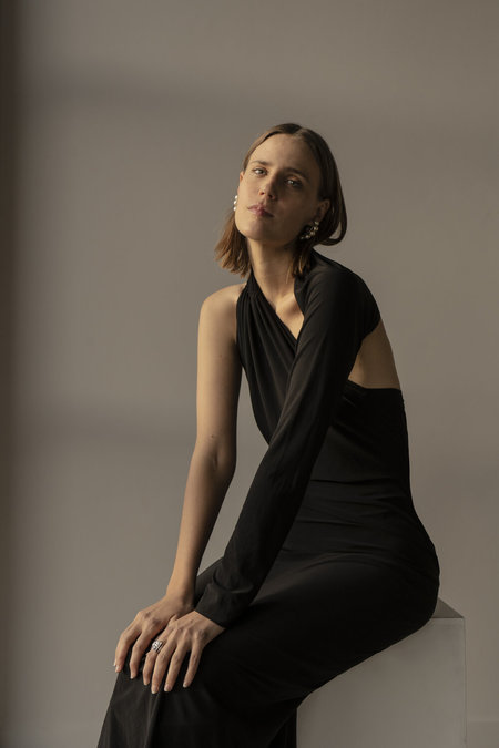 K M by L A N G E Chekhol Open Back Dress - Black