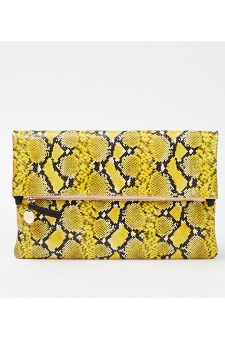 Clare V. Foldover Clutch - Yellow Mini Snake