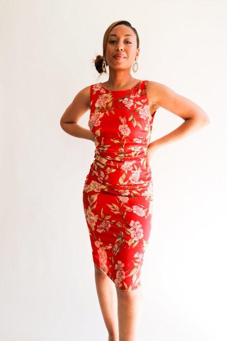 [Pre-loved] Dolce & Gabbana Draped Midi Dress - Red Floral
