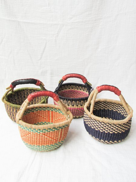 African Market Baskets Small Round leather handle Basket