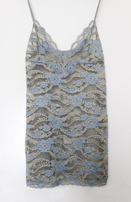 Vintage La Perla Floral Lace Slip - Gray/Blue