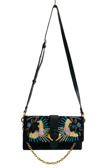 Maliparmi Handbeaded Abstract Flower Crossbody Bag - Black