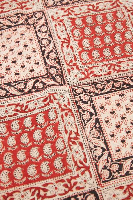 Beams Plus Cotton Stole - Block Print/Red