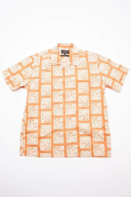 Beams Plus Short Sleeve Open Collar Dobby Print Shirt - Light Brown