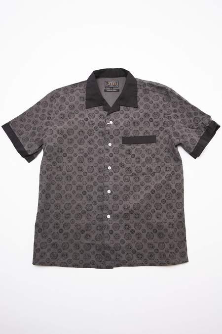 Beams Plus Short Sleeve Open Combination Collar Takashima Chijimi Print Shirt - Grey