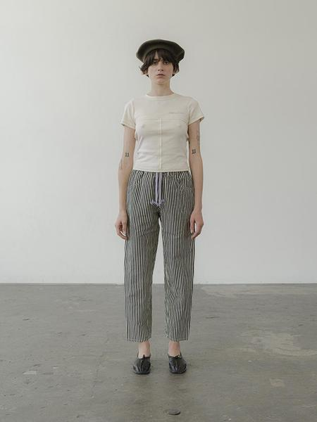 Anntian Slim Easy Pant - Black/Natural Stripe