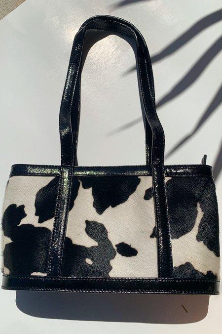 Paloma Wool Juanita II Top Zip Cow Bag - Black/White