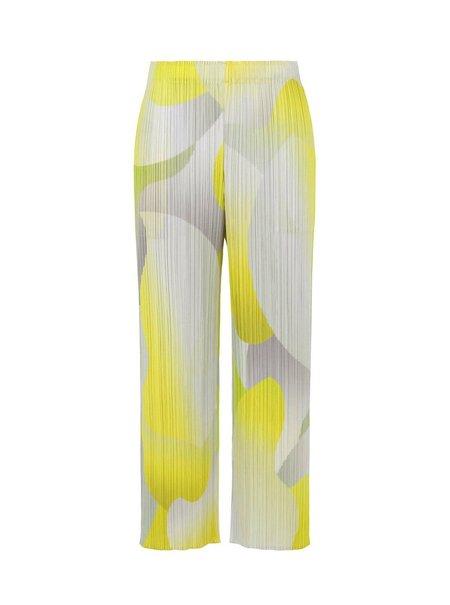 Pleats Please by Issey Miyake Flower Yawn Pants - Yellow