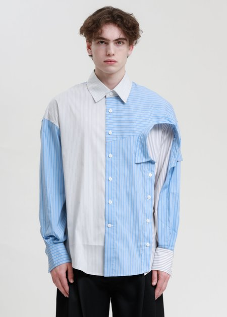 Feng Chen Wang Layered Shirt - White/Blue Stripe