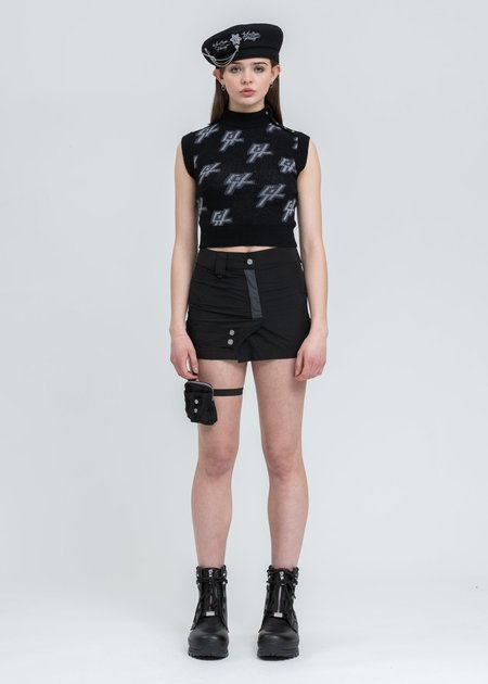 C2H4 Reflective Knit Vest Top - Black
