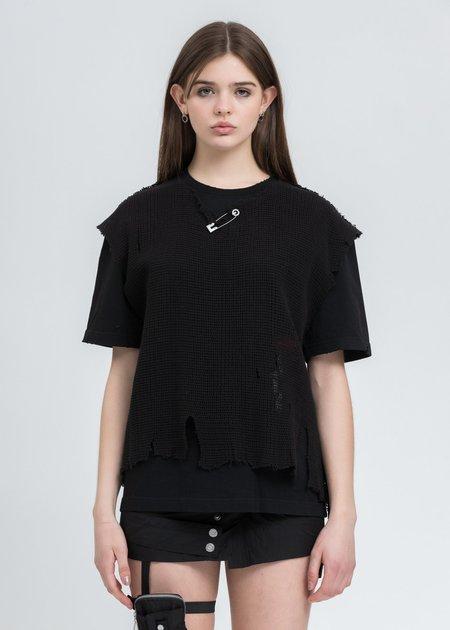 C2H4 Distressed Knit Meshing Layered T-Shirt - Black