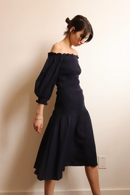 LUCY PARIS Smocked Off Shoulder Midi Dress - Navy