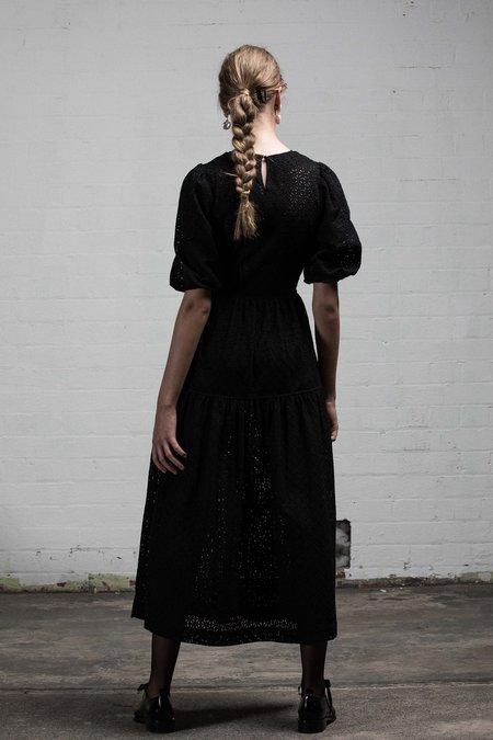 SALASAI STONE ROSES DRESS - BLACK EMBROIDERED LACE