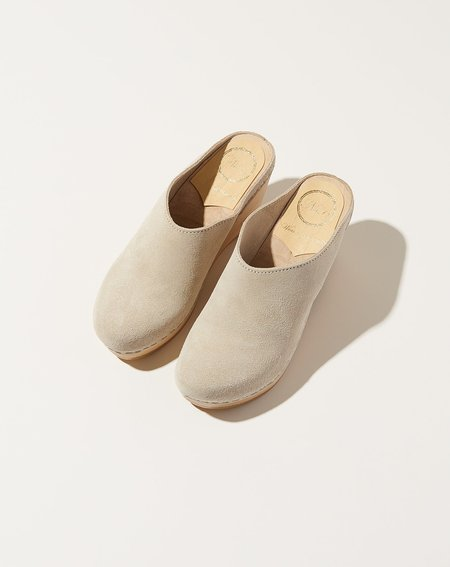 No.6 New School Wedge Clog - Chalk Suede