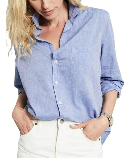Frank & Eileen Woven Button Up - Washed Blue
