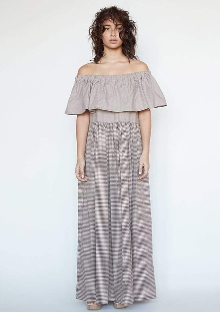 Christine Alcalay Emily Ruffle Neck Dress - Earth Combo