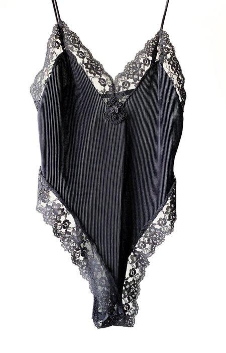 Vintage Hi-Cut Lace Teddy - Black