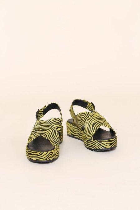 """INTENTIONALLY __________."" Sum Platform Sandal - Lime Zebra"