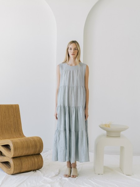LAUDE the Label Tiered Maxi Dress - Coastal Fog