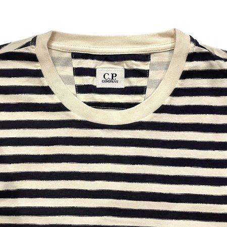 C.P. COMPANY Makò Jersey Garment Dyed Striped Long Sleeve T-Shirt - Blue
