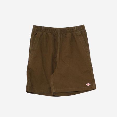 Danton Cotton and Linen Canvas Shorts - Khaki Green