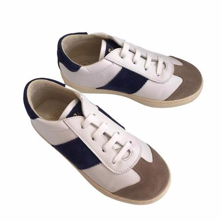 kids pèpè leather sneakers - White/Taupe/Navy