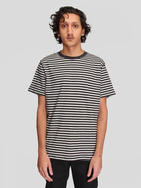 Norse Projects Niels Classic Stripe SS Tshirt - Light Grey Melange/Charcoal