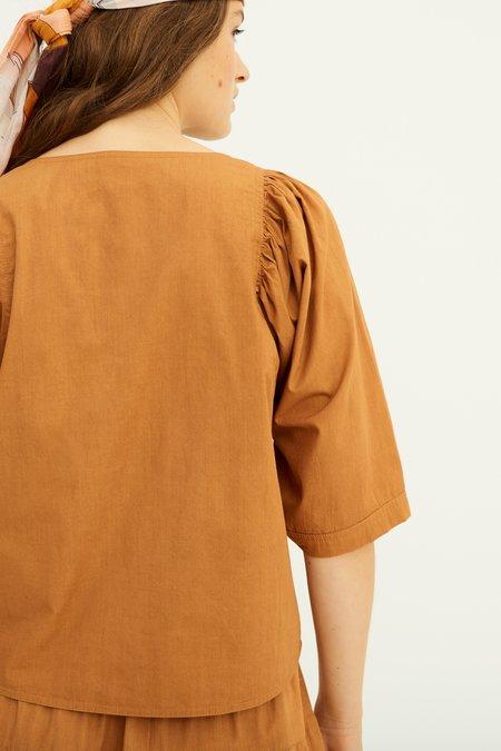 Antik Batik Kala Puff Sleeve Blouse - Ochre