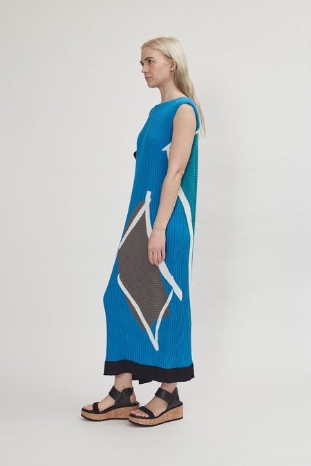 Issey Miyake Art Frame Long Dress - Blue Hued