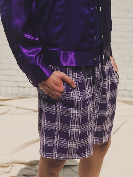 The Letters Washed Flannel Easy Boxer Shorts - Purple Check