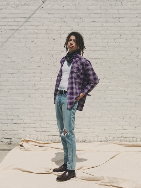 The Letters Washed Flannel Western Cutting Shirt - Purple Check