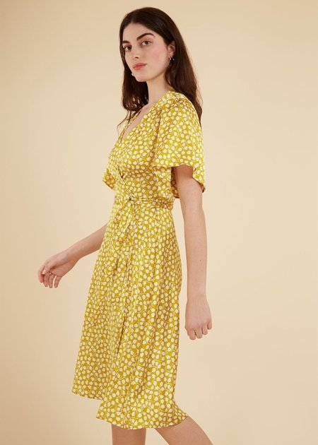 FRNCH V-Neck Floral Wrap Dress - Yellow