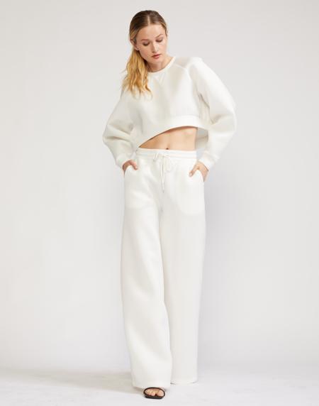 Cynthia Rowley Niall Cropped Bonded Sweatshirt - White