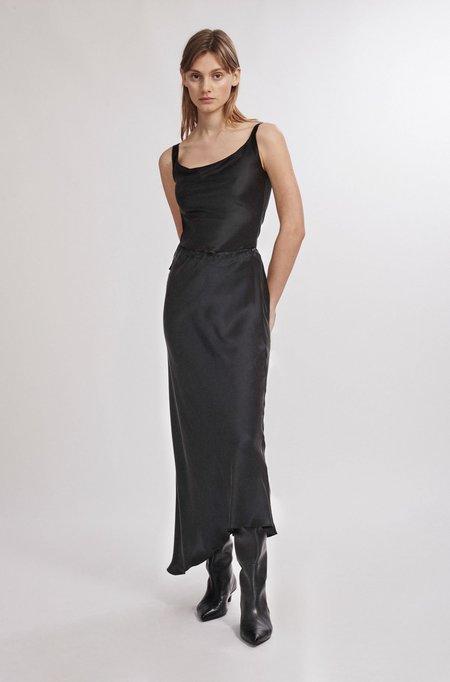 Silk Laundry Asymmetric Skirt - Black
