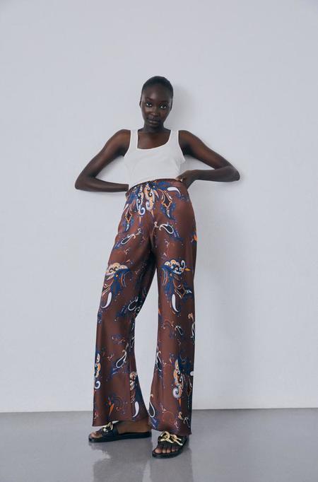 Silk Laundry Bias Cut Pants - Brown Paisley