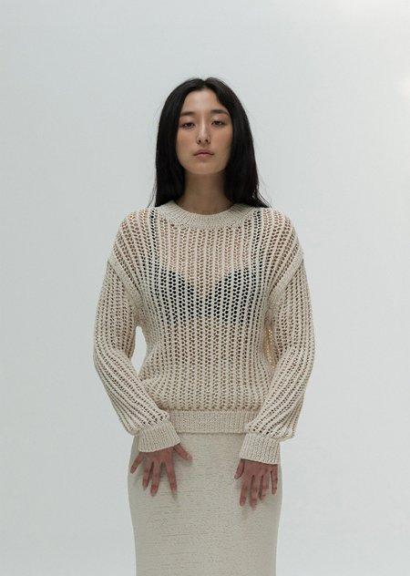 AMOMENTO Cotton Crochet Pullover - Ivory