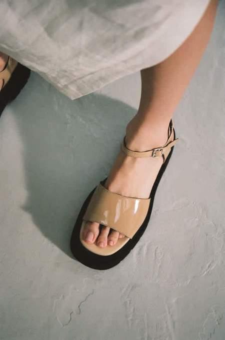 Miista Pauline Patent Sandals - Latte