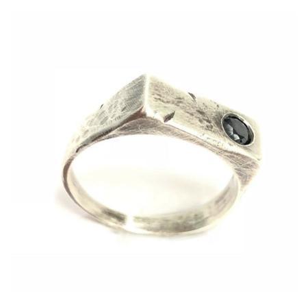 Shelton Metal LEM SIGNET ring -  Sterling Silver/BLACK DIAMOND