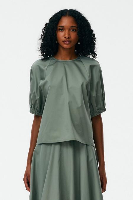 Tibi Eco Poplin Shirred Sleeve Top - Sage