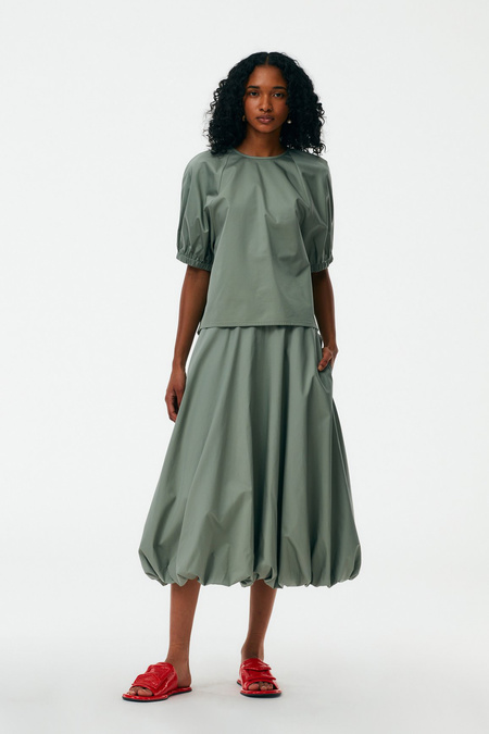 Tibi Eco Poplin Bubble Skirt - Sage