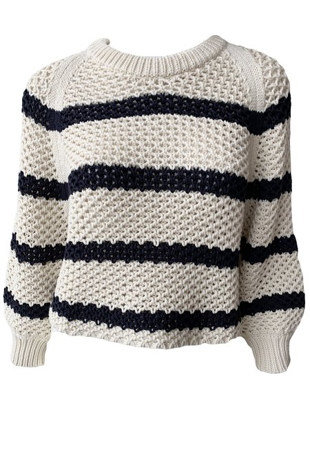Apiece Apart Merel Crew Neck Sweater - Cream/Navy Stripe