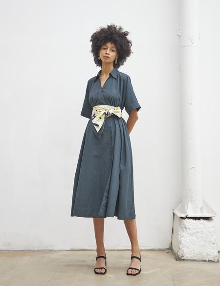 Maison De Ines FLORAL BELTED SHIRT DRESS - green