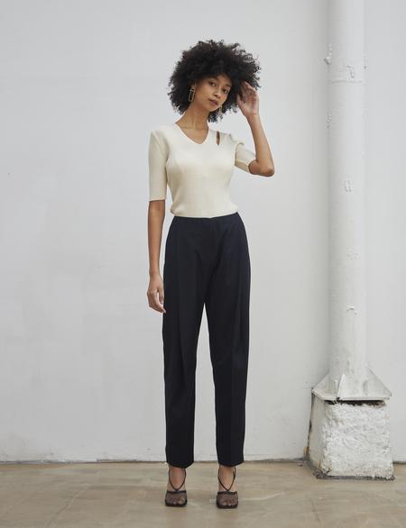 Maison De Ines SUMMER STRAIGHT SLACKS pants - navy